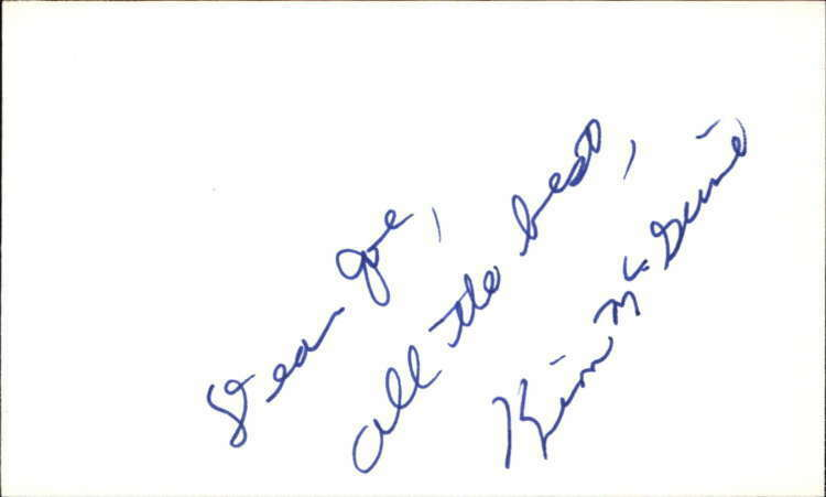 "KIM MCGUIRE d. 2016 CRYBABY Signed 3""x5"" Index Card"