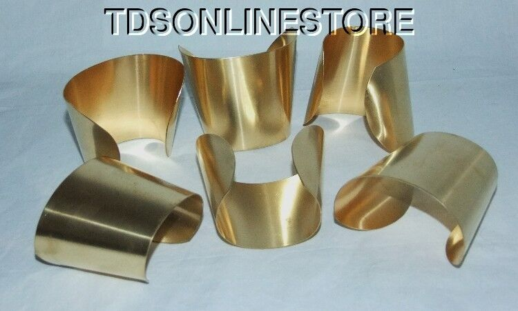"Brass Bracelet Cuff Blanks Extra Wide Tapered 2.5"" Pkg Of 12"