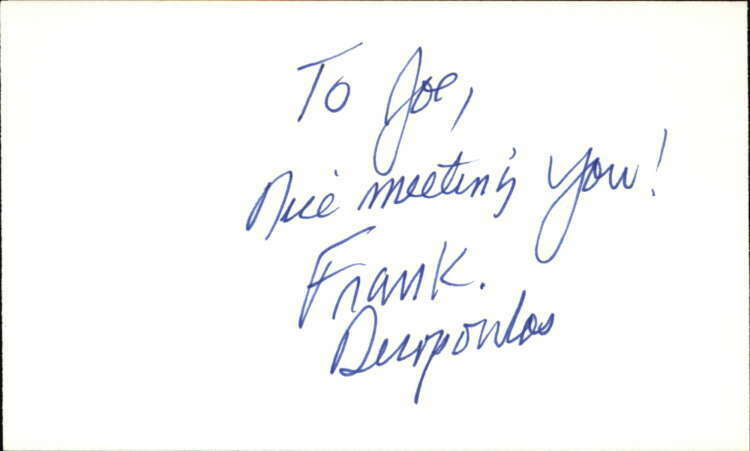 "Frank Dicopoulos Actor Guiding Light Signed 3"" x 5"" Index Card"