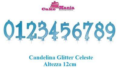 Candelina Candela x torta compleanno color Celeste Glitter Cake Design da 0 a 9
