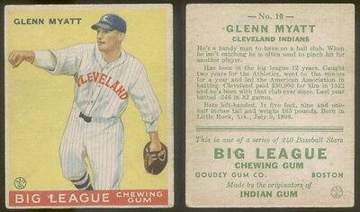 5746  1933 Goudey 10 Glenn Myatt Indians Vgx