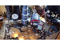 Full used mother of pearl Premier drum kit for sale.