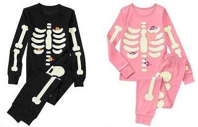 NWT Gymboree SKELETON Halloween Costume 2014 Pajamas/Gymmies Glow-In-The-Dark](Skeleton Pajamas)