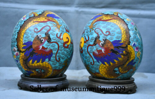 Old China Cloisonne Bronze Dynasty Dragon Phoenix auspicious Egg Decor Statue