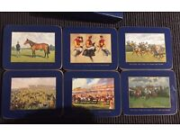 Set of 6 Martell Drinks Coasters with Horseracing Theme & Navy Surround - NEW