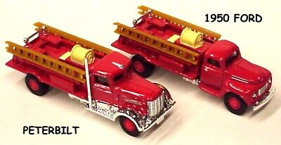 Golden Wheel 1:87 scale set of 2 Fire Trucks with ladders 1950 Ford & Peterbilt for sale  Shipping to India