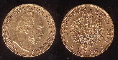 5 Mark Gold Preussen 1877 C !