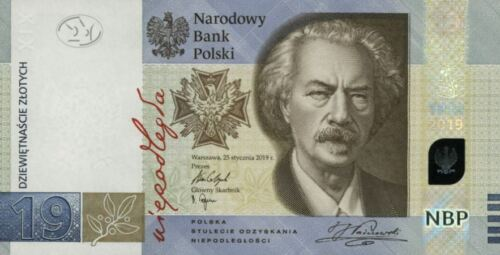 POLAND 19 ZLOTYCH 2019 YEAR P NEW UNC IN FOLDER