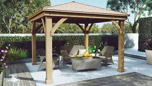 Brand New Cedar Wood Gazebo 12 ft x 12 ft with Aluminum Roof