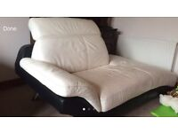 WHITE GENUINE LEATHER SOFA AS NEW RRP £1400