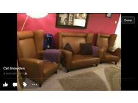 Vintage wing back clubman chairs and sofa / 3 piece suit