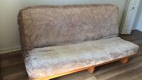 Base de futon et coussin avec housse pour lit double occasionnel