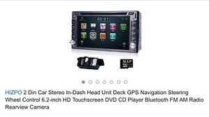 Double din car audio deck with reverse cam/nav/bluetooth