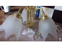 Brass ceiling lights (pair )