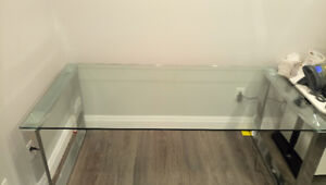 Glass Table 36x71x29.5 Inches, Stainless Steel Square Frame Legs