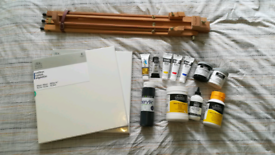 Art Supplies: Easel, Canvases, Brushes and Acrylic Paints and Mediums