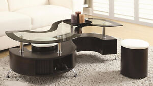 BEAUTIFUL MODERN S-SHAPE TEMPERED GLASS TOP COFFEE TABLE ON SALE