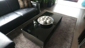 Beautiful Black Glass/Wood Coffee Table