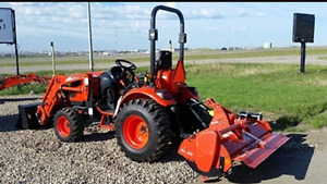 FOR RENT: New 4x4 loader tractor available with rototiller mower