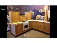 Oak fronted kitchen units, oven, job, extractor, work surfaces etc
