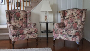 Two Floral Wingback Chairs