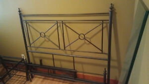 Queen Size Wrought Iron Bed & Two Matching Bed Side Tables