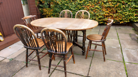 Oak gate Leg table and chairs