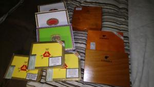 Empty cedar cigar boxes