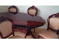 Luxury italian mahogany dinning table and 4 chairs