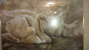 Beautiful Swan Water Scene Painting in Frame Under Glass 44X33