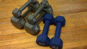 Hexagon Dumbbells (5, 10, and 20 pound sets of 2)