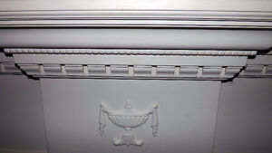 White stone fireplace Mantle and surround from Century Home. London Ontario image 4