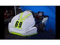 Race winning Prokart go kart BIZ chassis twin Honda GX160 Kelgate brake Mychron trailer
