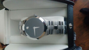 Men's movado watch black face stainless steel bracelet mint