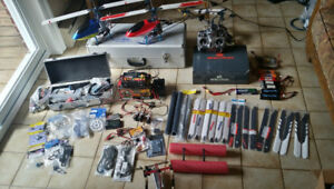 Trex 450 RTF helicopters Spektrum DX-7 and parts