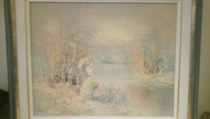 LARGE signed framed oil painting