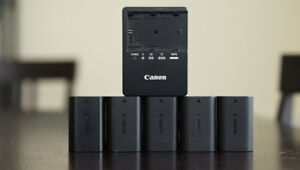 Genuine Canon LP-E6 Batteries and Charger