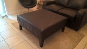 MINT! Stylish Large Leather Ottoman/Coffee Table