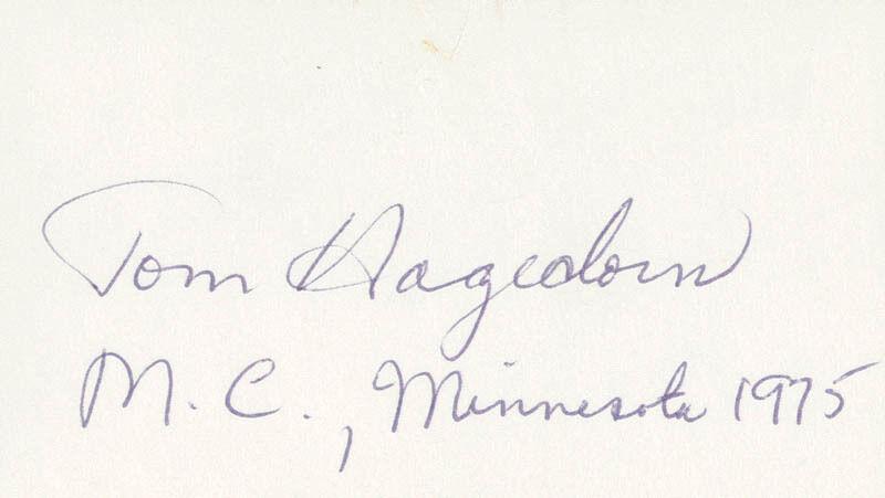 TOM HAGEDORN - SIGNATURE(S)