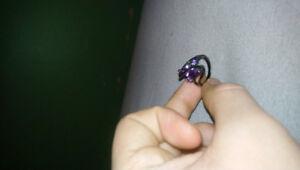 Black Gold Amethyst Ring