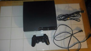 PS3 SLIM WITH 250 GB HARD DRIVE, WIRELESS CONTROLLER AND GAME