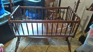 Antique Real Wood Baby Cradle