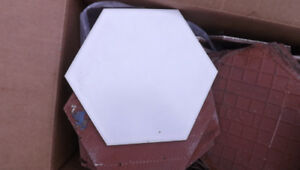 MONOCERAM HEXAGON CERAMIC TILES FREE  ALSO SOME CEMENT BLOCKS.
