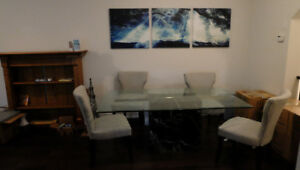 "Glass kitchen table - 72"" by 42"" (Chairs NOT included)"