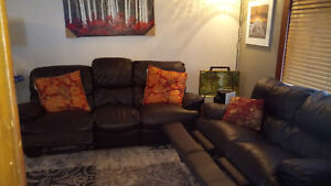 Lazy Boy leather couch with matching loveseat