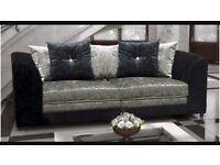 3&2 seater crushed velvet sofas
