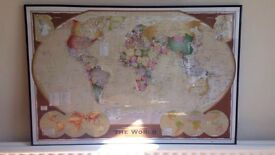 World map in hanging frame