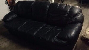 FREE BLACK LEATHER SOFA AND CLOTH CHAIR