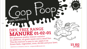 """COOP POOP"" Free range chicken manure / fertilizer bagged 15kgs"