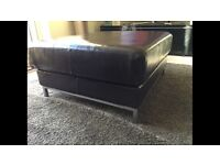 Real leather pouffe foot stool